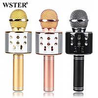 Караоке микрофон bluetooth USB колонка беспроводной блутуз серебро