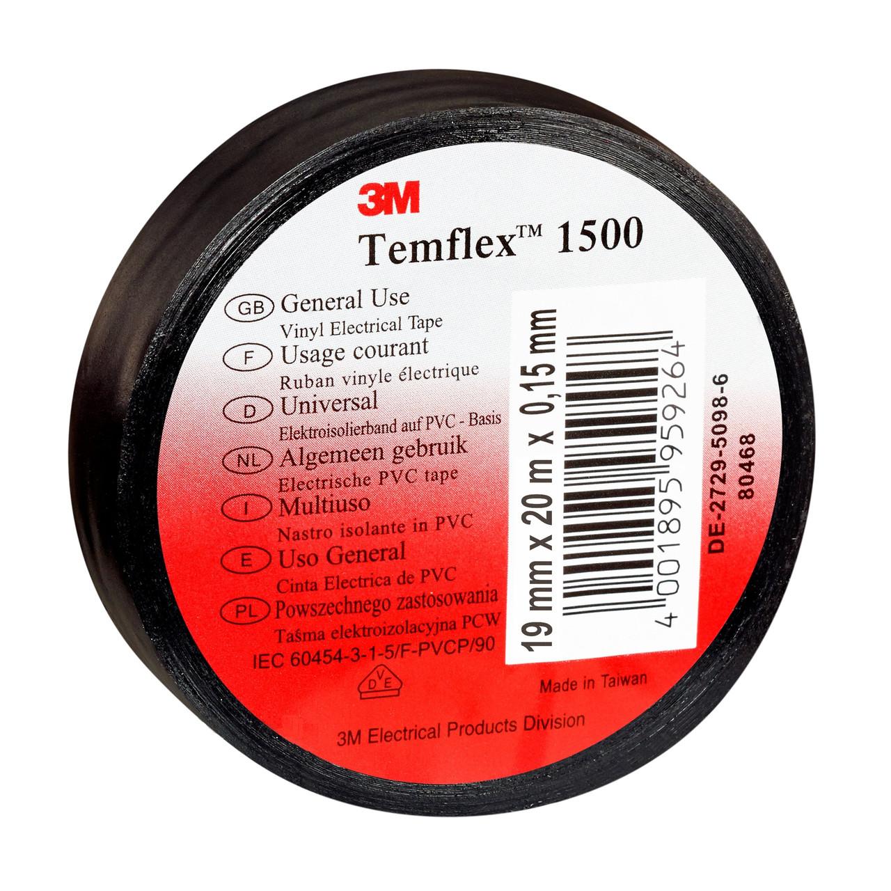 Изолента 3M Temflex™ 1500 ПВХ лента, черная, (19 мм x 20 м х 0,15 мм)