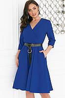 Платье женское с кожаным поясом Батал Электрик