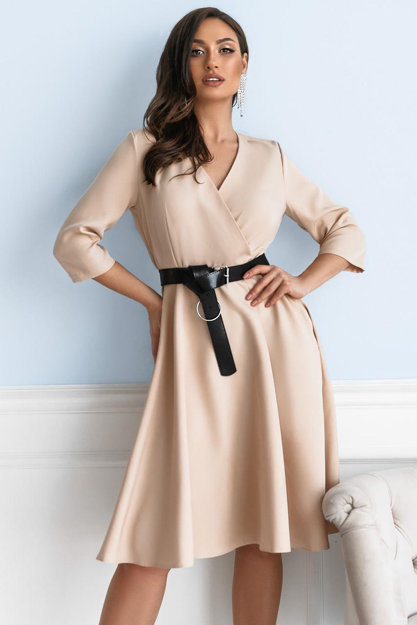 Платье женское с кожаным поясом Батал Бежевый