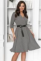 Платье женское с кожаным поясом Батал Гусиная лапка
