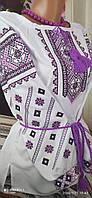 Вишита сорочка жіноча з фіолетовим квітковий орнаментом 46