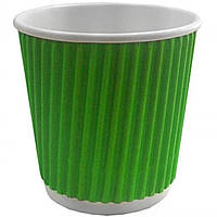"""Стакан ГОФРА 175мл """"Зелёный"""" (бумажный, картонный, одноразовый, гофрированный), гарантия качества, не текут"""