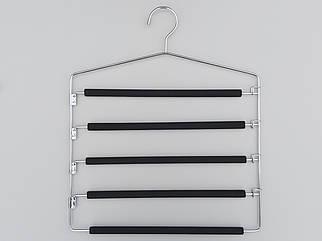 Плечики вешалки тремпеля для брюк металлические в поролоновом покрытии лестница 5-ти ярусная, длина 40 см