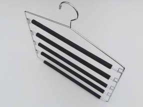 Плечики вешалки тремпеля для брюк металлические в поролоновом покрытии лестница 5-ти ярусная, длина 40 см, фото 2