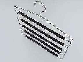 Плічка вішалки тремпеля для штанів металеві в поролоновом покритті сходи 5-ти ярусна, довжина 40 см, фото 2