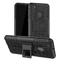 Чехол Armored для Samsung Galaxy M30s (M307) противоударный бампер с подставкой черный