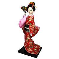 """Кукла японская """"Гейша в кимоно с веером"""" 30 см. красная (C1009)"""