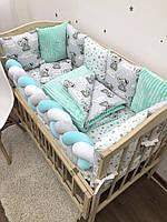 """Комплект в кроватку для новорожденного """"Мишки Boy"""". Мятный."""