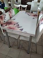 """Розкладний стіл обідній кухонний комплект стіл і стільці 3D малюнок 3д """"Вогненні пелюстки"""" ДСП скло 70*110 Лотос-М, фото 1"""