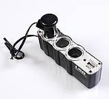 Автотройник + USB 12/24V прикуриватель зарядка, фото 4