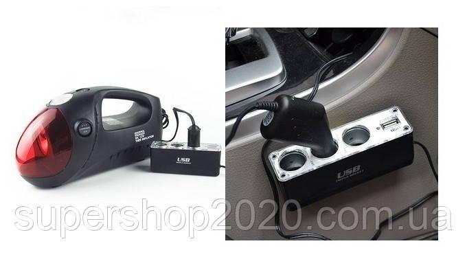 Автотройник + USB 12/24V прикуриватель зарядка