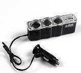 Автотройник + USB 12/24V прикуриватель зарядка, фото 2