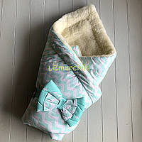 """Конверт-одеяло для новорожденных на выписку и в коляску на меху """"Зиг заг"""" бирюзовый"""