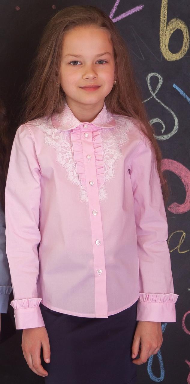 Рубашка Свит блуз для девочки мод. 6007  розовая  с кружевным воротничком р.116