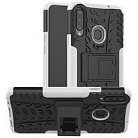 Чехол Armored для Samsung Galaxy A20s (A207) противоударный бампер с подставкой белый