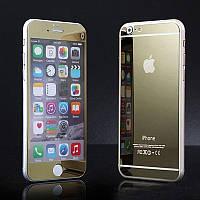 Защитное стекло (2in1) для iPhone 6 Gold Mirror переднее + заднее, фото 1