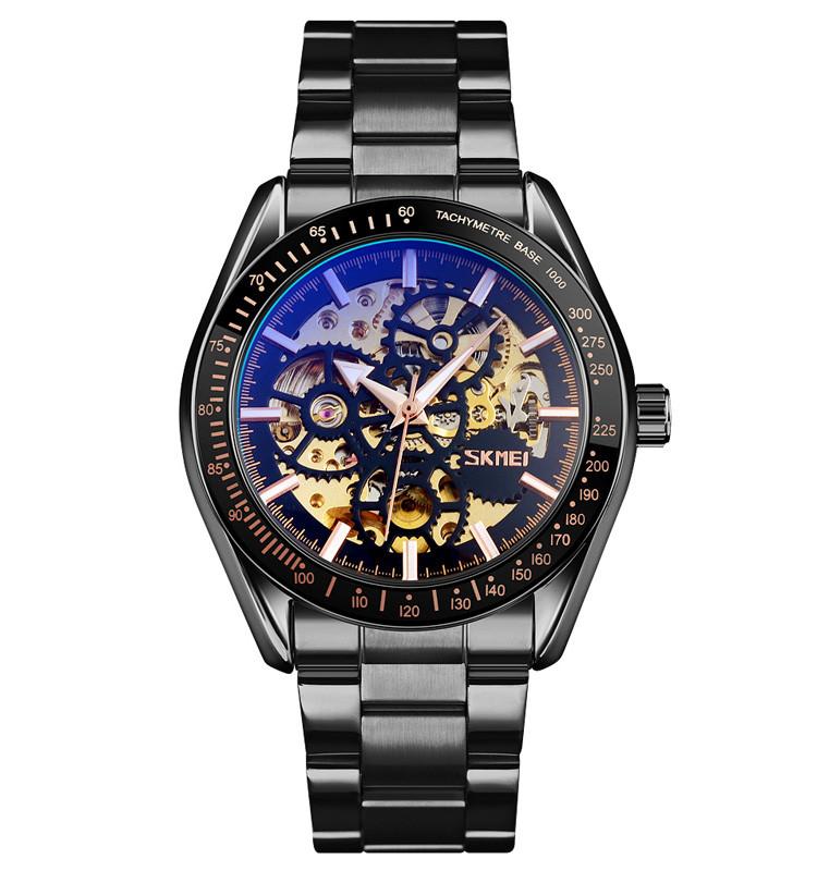 Skmei 9194 черные мужские механические часы скелетон