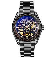 Skmei 9194 черные мужские механические часы скелетон, фото 1