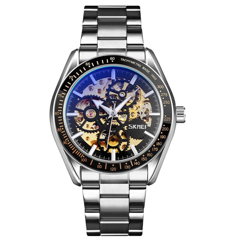 Skmei 9194 сріблясті чоловічий механічний годинник скелетон