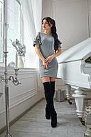 Серое платье из стрейчевого крепа с люрексом