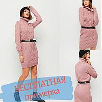Платье свитер вязанное пыльно-розовое оверсайз с воротником