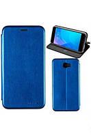 Чехол книжка на Samsung J320 (J3-2016) Синий кожаный защитный чехол для телефона, G-Case Ranger Series.