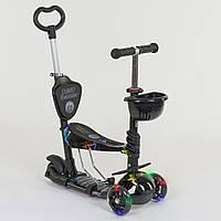Самокат 5в1 детский трехколесный c сиденьем и ручкой Best Scooter, PU колеса, свет колеса 35110