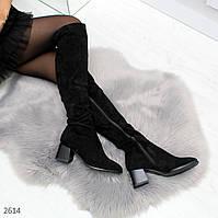 Классические женские ботфорты на каблуке