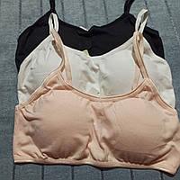 Топик подростковый для девочки, хлопок, на 8-12 лет ,черный, белый, нежно розовый цвет, съёмный поролон.