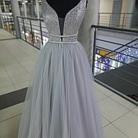 Шикарное вечернее платье на выпускной с блестящим корсетом