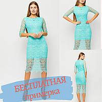 Платье женское мятное миди длинны, кружевное приталенное, прикрытый рукав
