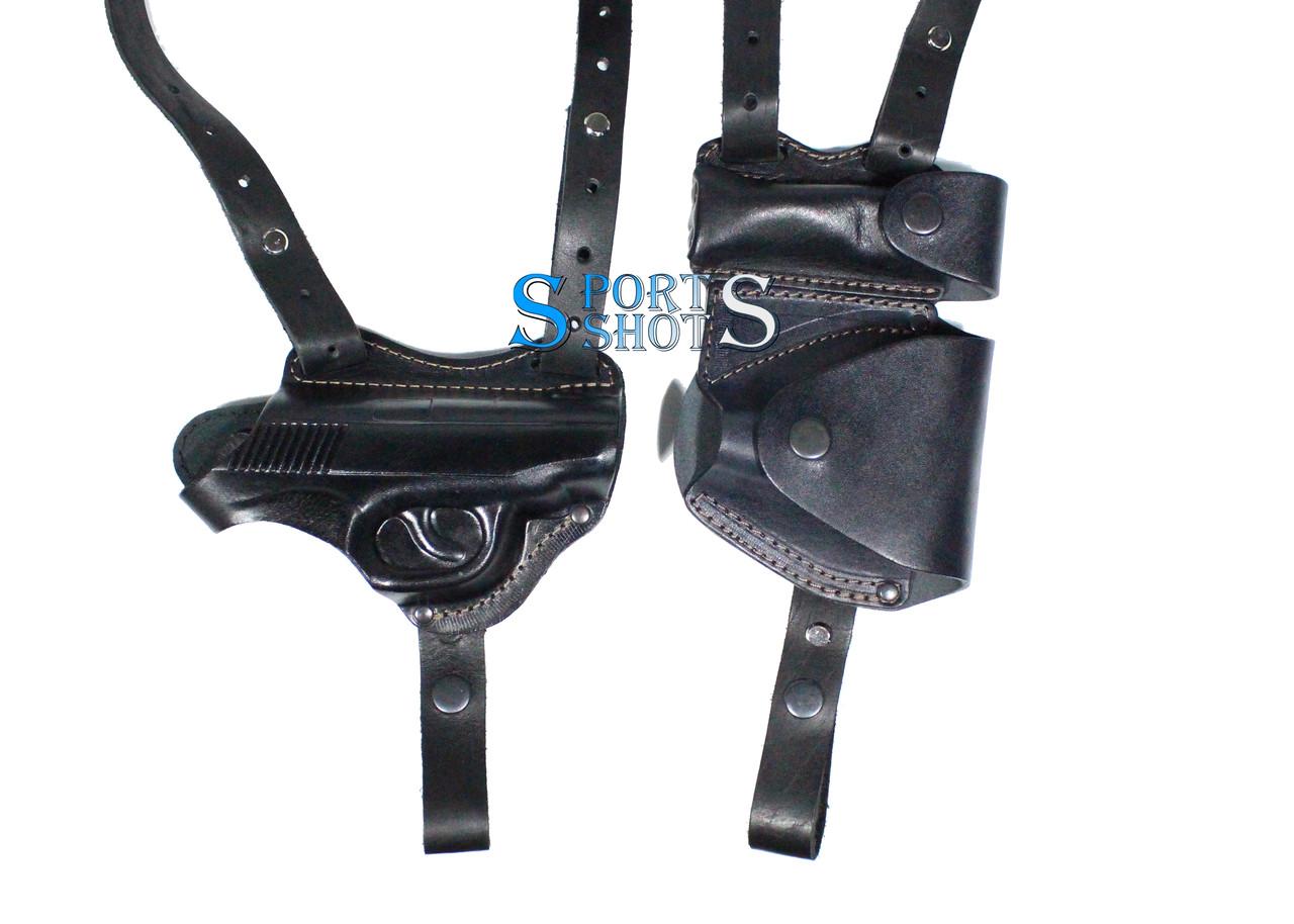Кобура двухсторонняя ПМ формованная с чехлами под магазин и наручники (кожа, чёрная)