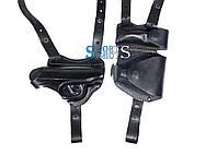 Кобура двухсторонняя ПМ формованная с чехлами под магазин и наручники (кожа, чёрная), фото 1