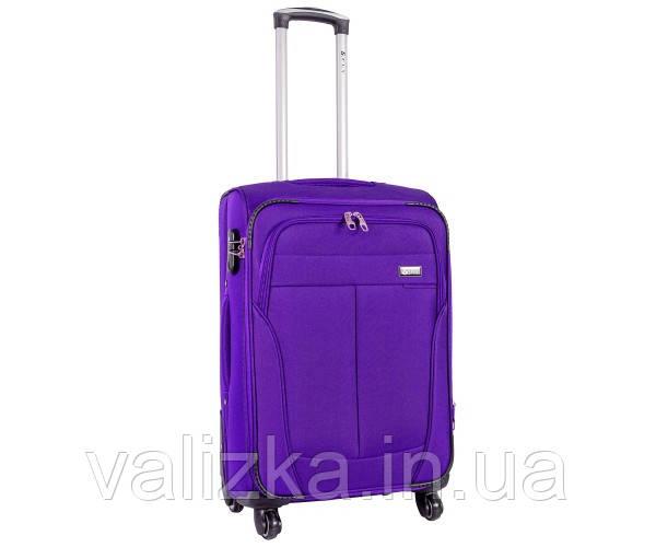 Текстильный чемодан средний клади Golden Horse на колесиках фиолетовый