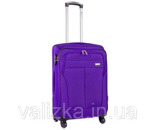 Текстильный чемодан средний клади Golden Horse на колесиках фиолетовый, фото 2