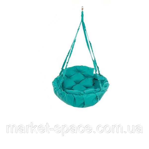 Качель гамак подвесная садовая: 250 кг 120 см двухместная. Цвет: БИРЮЗА. Модель: №10