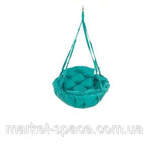 Качель гамак подвесная садовая: 250 кг 120 см двухместная. Цвет: БИРЮЗА. Модель: №10, фото 2