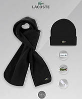 Шапка и шарф флисовый комплект мужской зимний теплый черный Lacost