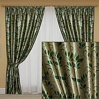 Комплект готовых штор блэкаут. Цвет зеленый