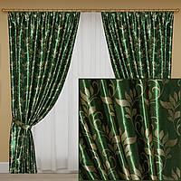 Комплект готових світлонепроникних штор, колекція блекаут, колір зелений