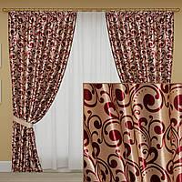 Комплект готовых светонепроницаемых штор, коллекция блэкаут, цвет бордовый, фото 1
