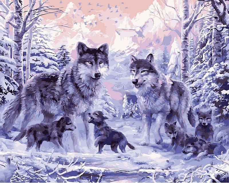 Раскраска по цифрам 40×50 см. Волчье семейство купить в ...