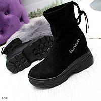 Супер модные черные замшевые женские ботинки