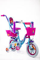 Детский двухколесный велосипед с ручкой  (от 2-х до 5-х лет) на 12 дюймов ICE FROZEN PRINCESS-2