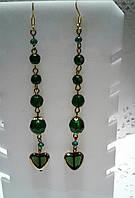 Серьги - зеленые из чешского хрусталя в подарок на день Св Валентина, фото 1