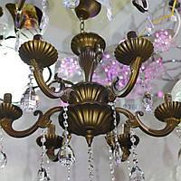 Люстра, 6 ламп, подвесная, подсвечники, бронза