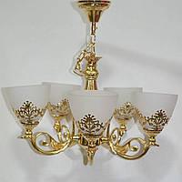 Люстра, 5 ламп, подвесная, золотая, очень красивая