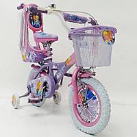 Детский двухколесный велосипед с ручкой  (от 2-х до 5-х лет) на 12 дюймов ICE FROZEN PRINCESS-1