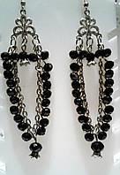 Серьги - черные из чешского хрусталя длинные в подарок, фото 1